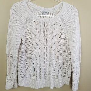 Lucky Brand Creme Boho Cotton Knit Sweater, sz L